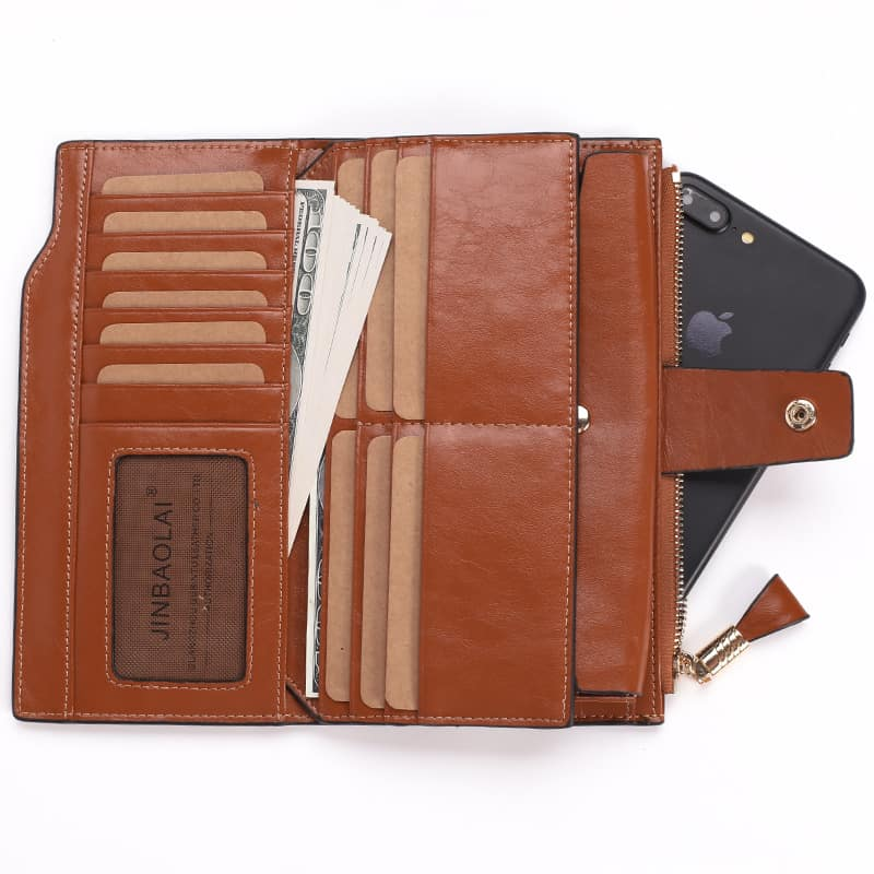 Men's leather wallet, long multi-card section, anti magnetic leather.2003#-7
