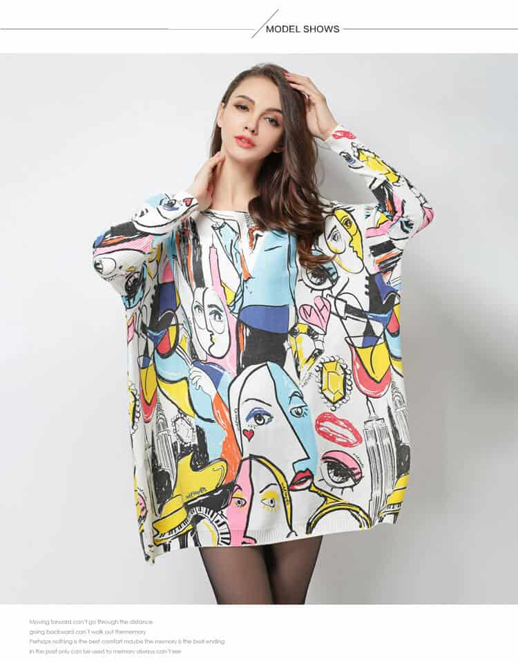 Women's printed sweater, Smiley Graffiti print, HX6017-11