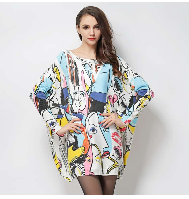 Women's printed sweater, Smiley Graffiti print, HX6017-13