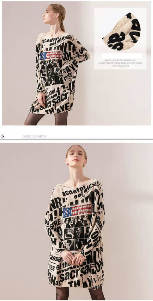 Women's knit sweater, printed with letter and photos. 6137-11