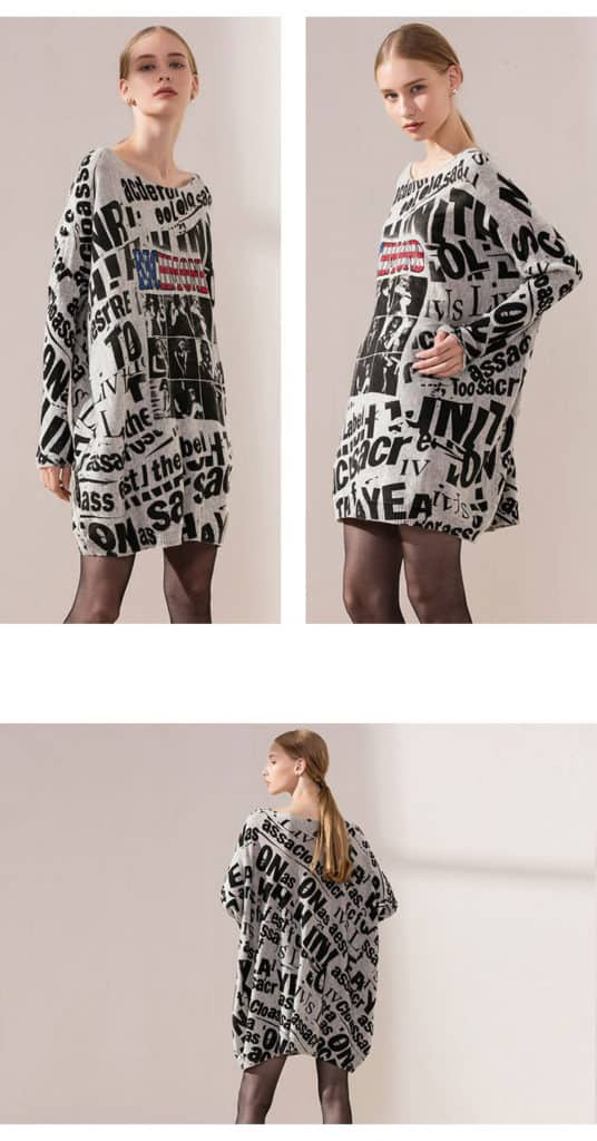 Women's knit sweater, printed with letter and photos. 6137-14