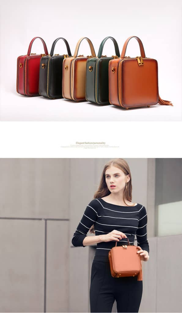 Leather handbag, fashion style, large capacity, square fashion bag.060-12
