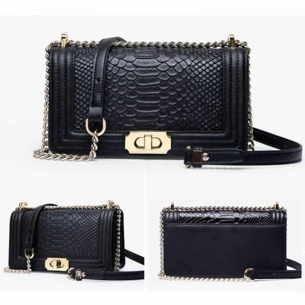 Genuine leather handbag, snake pattern, shoulder bag.17050202 (small)-1