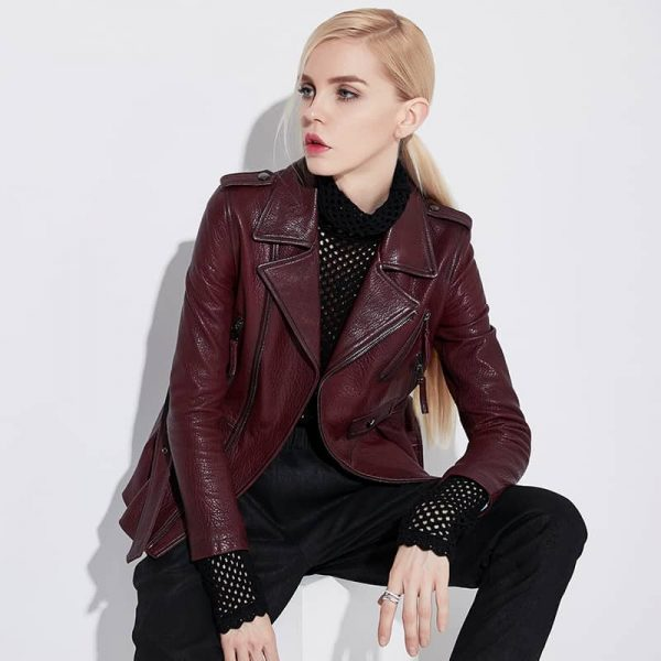 Women's leather jacket, high quality, Sheepskin leather, elegance. NINA5705J-1