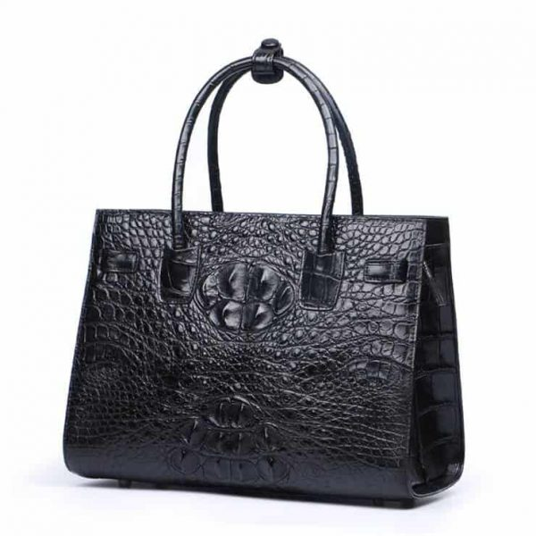 women's crocodile skin leather handbag, luxury trend shoulder bag.3021- black