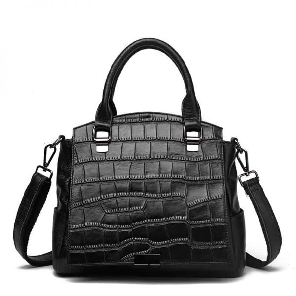 Women's handbag, leather shoulder bag, fashion diagonal leather bag.S4-1426-D-black