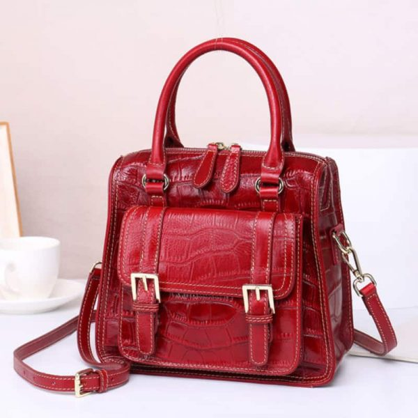 Women's leather handbag, retro crystal stereotypes shoulder bag.S5-907-red