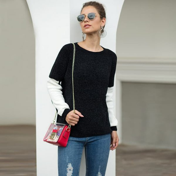 Women's sweater, black and white contrast color chenille sweater. S8-MY6302-black