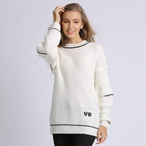 Women's sweater, fashion letters sweater, small knitted pullover.Hx7029- white 01