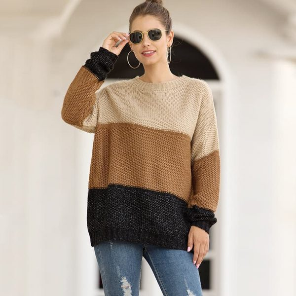 Women's sweater, fashion striped color matching pullover.MY6324-5