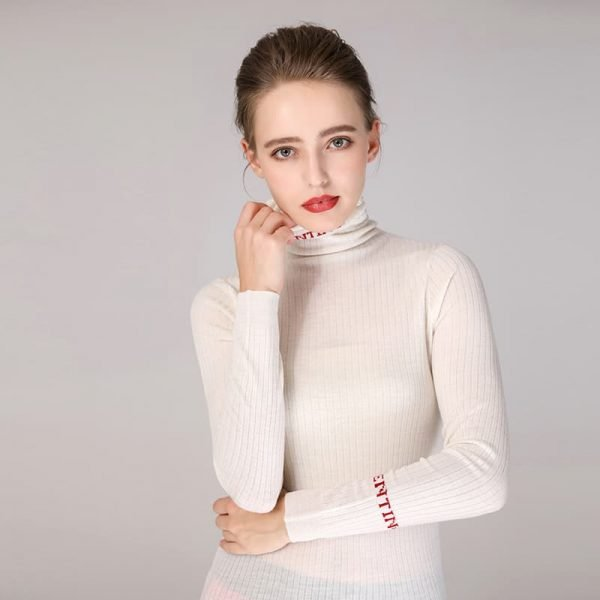Women's sweater, pure wool casual pile collar pullover.S4-E906-white