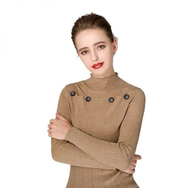 Women's sweater, round neck button decorative thin wool sweater.S4-E907-camel