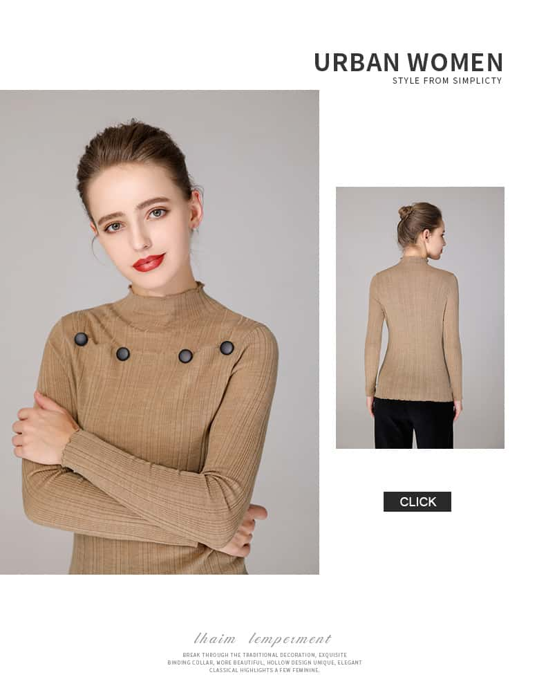 Women's sweater, round neck button decorative thin wool sweater.S4-E907-details 022