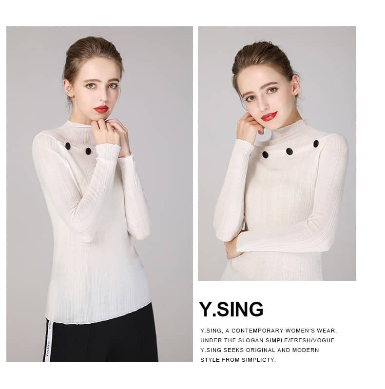 Women's sweater, round neck button decorative thin wool sweater.S4-E907-details 03