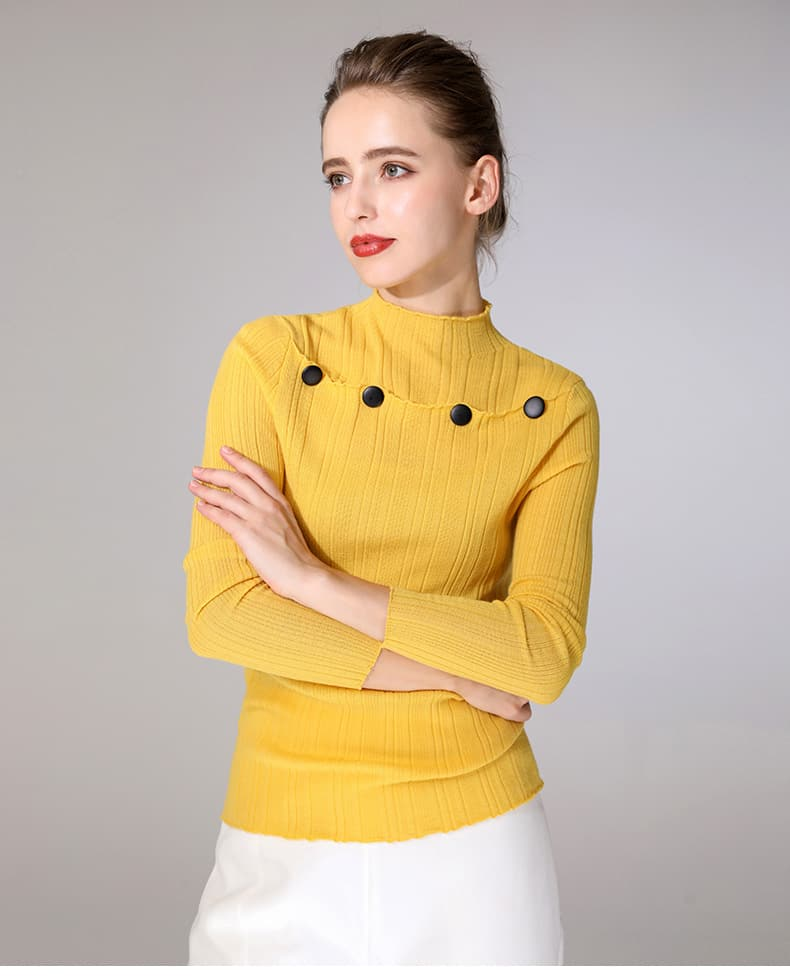 Women's sweater, round neck button decorative thin wool sweater.S4-E907-details 07