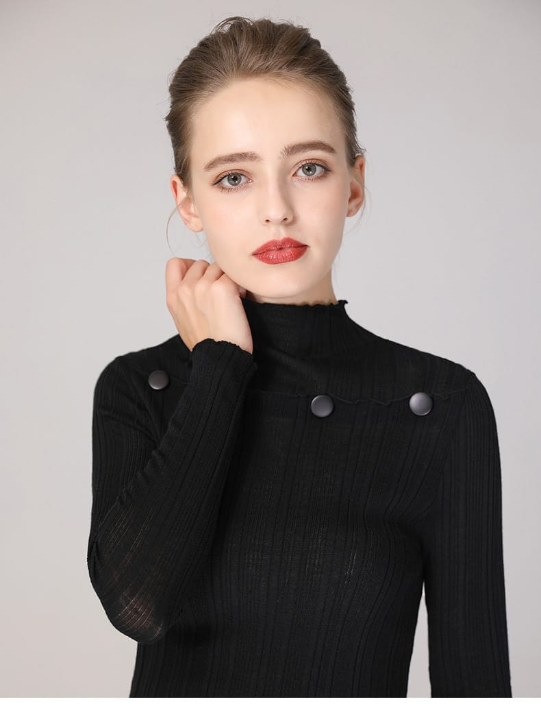Women's sweater, round neck button decorative thin wool sweater.S4-E907-details 08
