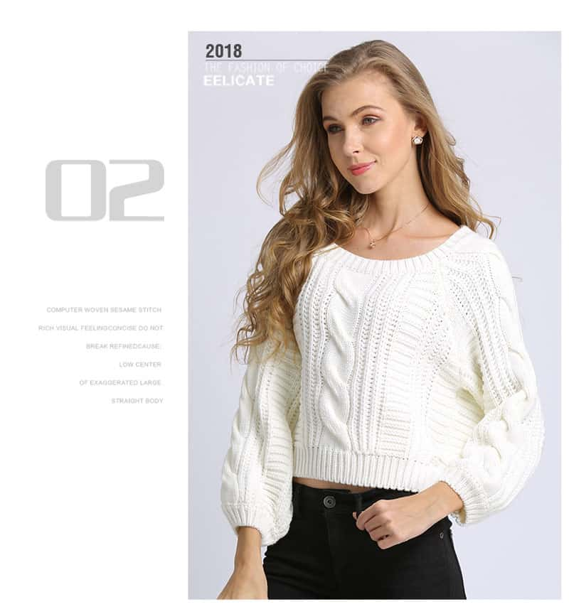 Women's sweater, short round neck loose pullover.Hx1727-05