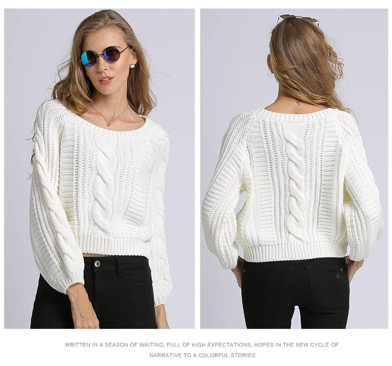 Women's sweater, short round neck loose pullover.Hx1727-06