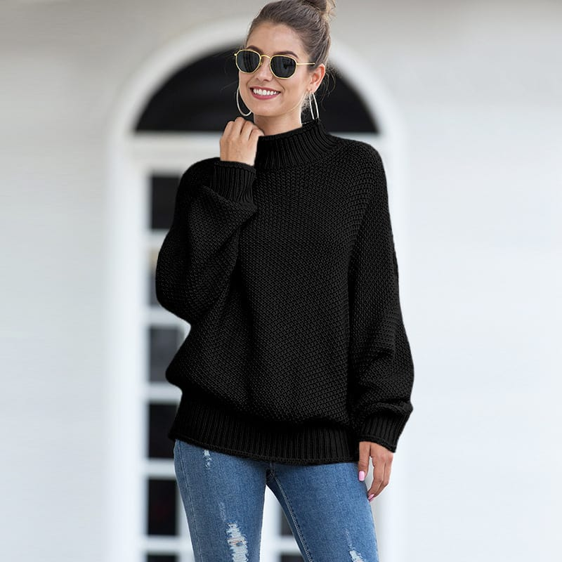 Women's sweater, thick line curling high collar bat sleeve sweater.S8-MY6319-black