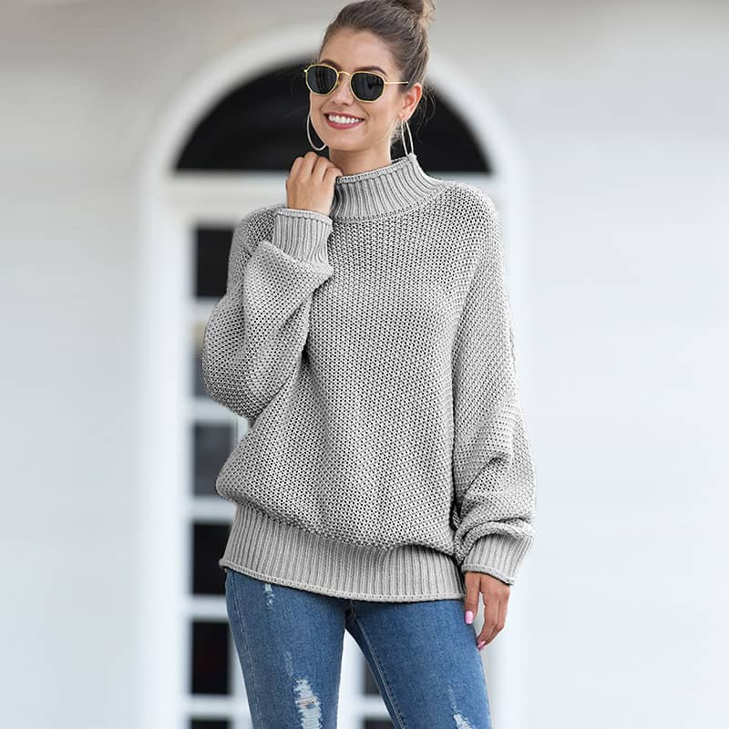 Women's sweater, thick line curling high collar bat sleeve sweater.S8-MY6319-green-camel-gray