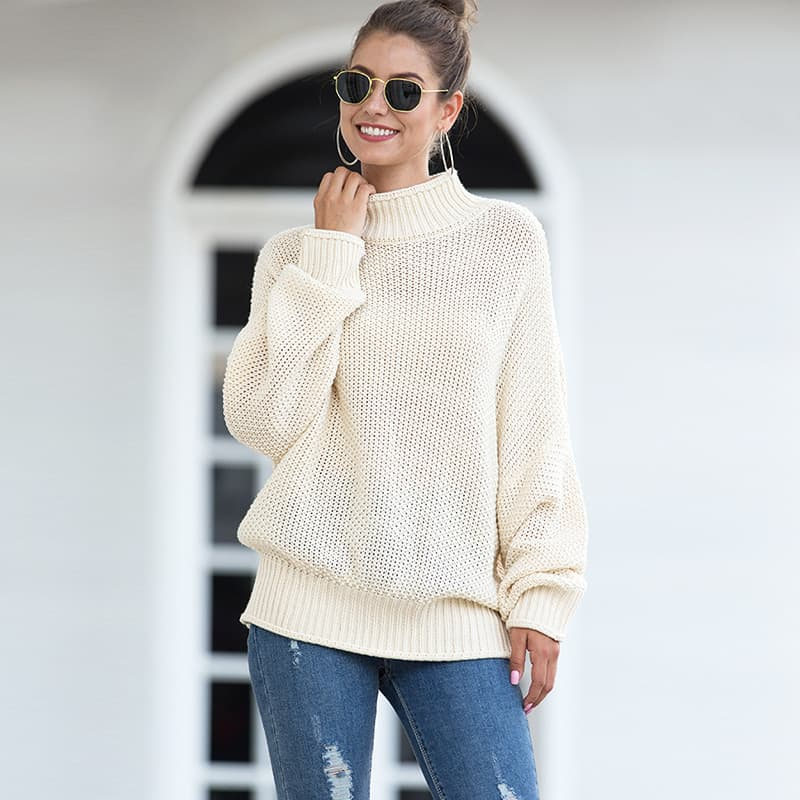 Women's sweater, thick line curling high collar bat sleeve sweater.S8-MY6319-white