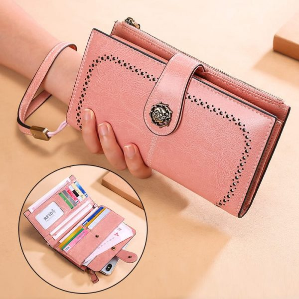 Women's wallet, RFID ladies long wallet, multifunctional coin purse. 3526 pink