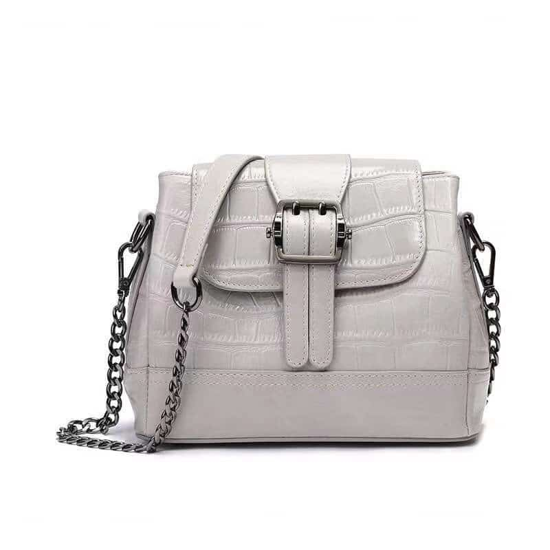 Women's leather handbag, cowhide fashion trend messenger bag. A649 white