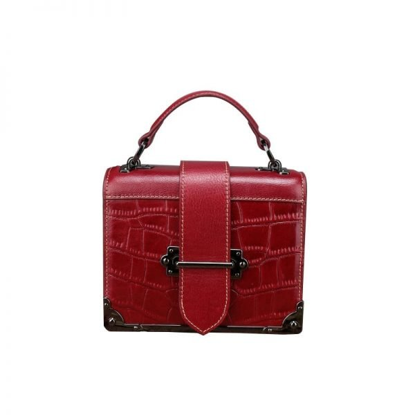 Women's leather handbag, square cowhide shoulder handbag. A556 red