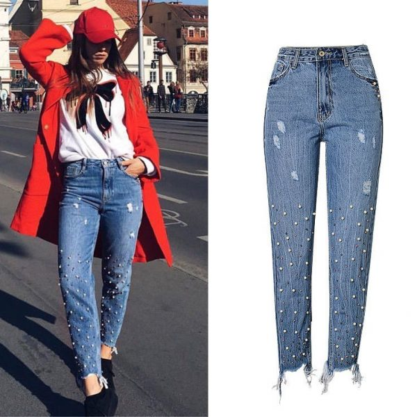 pants, high waist slim straight pearl women's pants.TOP269