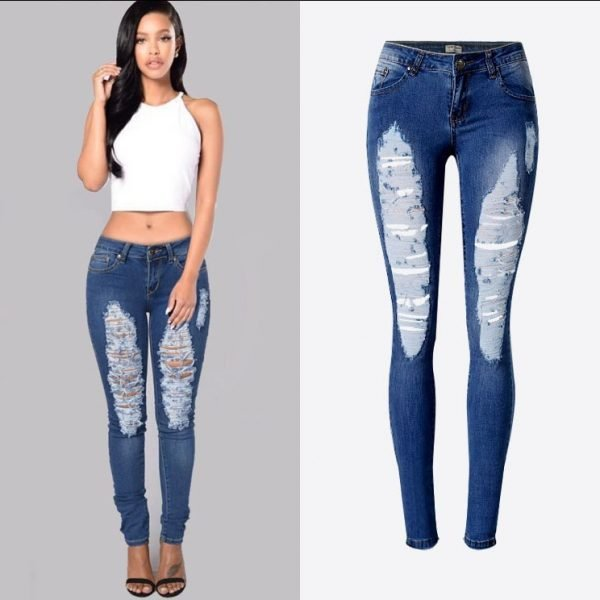 Women's denim pants, low-waist stretch slim denim pants with large arc edges.TPS6618