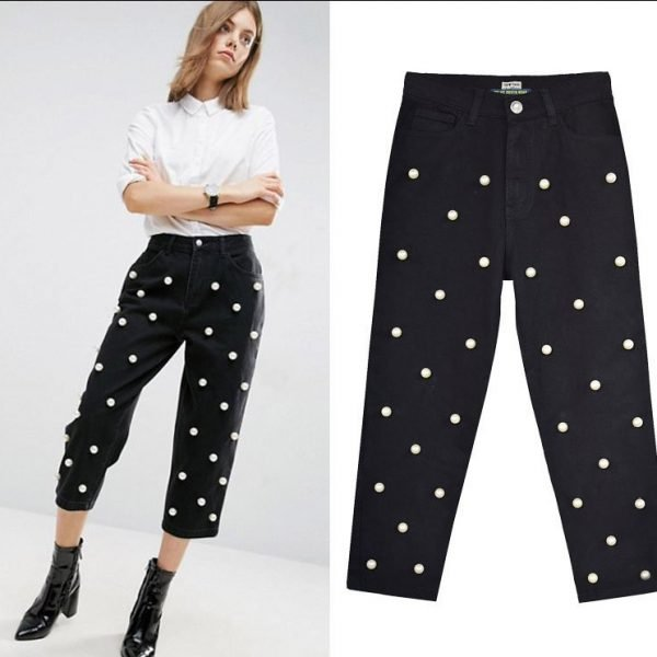 Women's denim pants, with wide Leg Studded Big Pearl.TOP268#