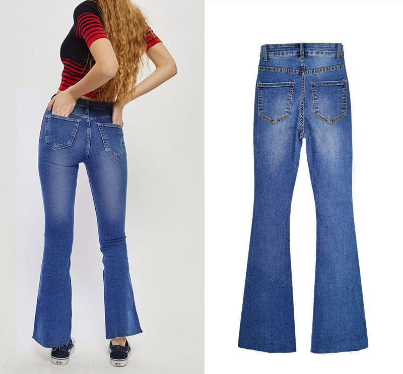 Women's denim wide-leg pants stitching two-color ribbon micro-light jeans.TOP311-2