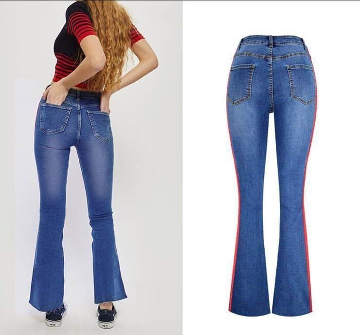 Women's denim wide-leg pants stitching two-color ribbon micro-light jeans.TOP311-3
