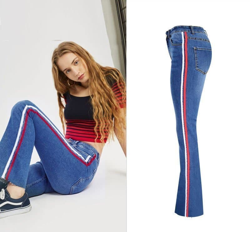 Women's denim wide-leg pants stitching two-color ribbon micro-light jeans.TOP311-4
