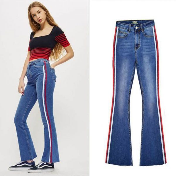 Women's denim wide-leg pants stitching two-color ribbon micro-light jeans.TOP311