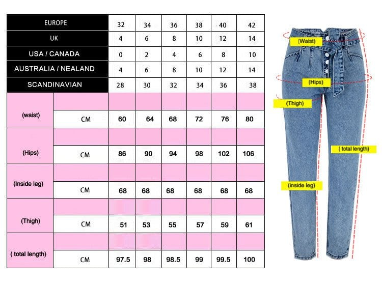 Women's washed denim pants belt. ref TOP338 # Size