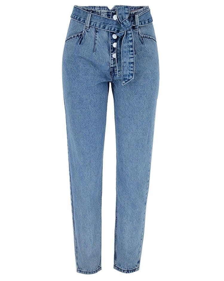 Women's washed denim pants with breasted belt.TOP338 model 03