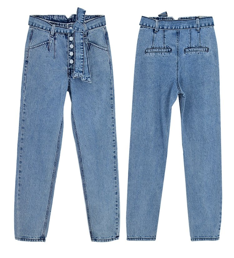 Women's washed denim pants with breasted belt.TOP338 model 06