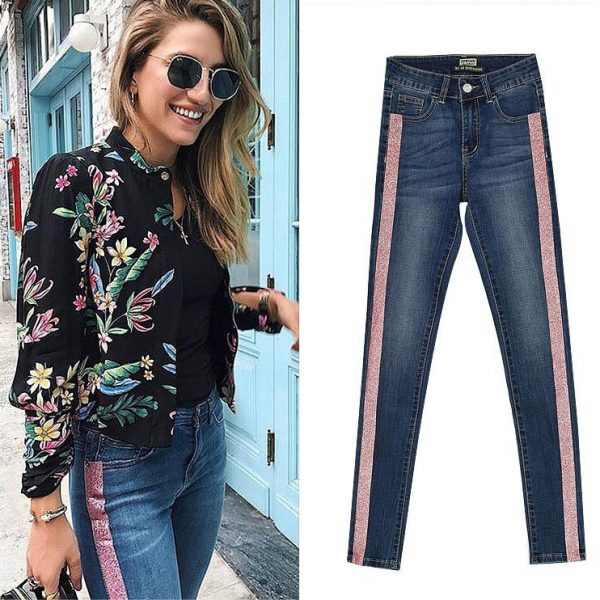 women's mid-waist slim double-sided metallic hot pink stretch denim pants.TPS6658-4