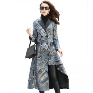Women's leather coats long, printed sheepskin slim coats.HQ18-YXG8172A