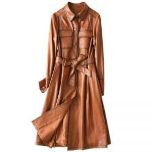 Women's leather coats, long slim coats, sheepkin leather coats.HQ19-LYJ9905A